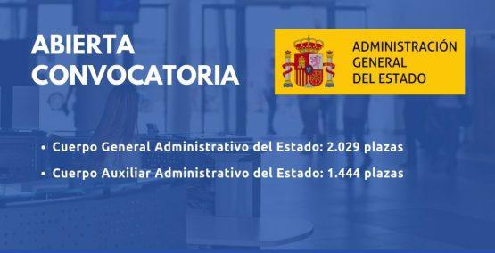Abierta convocatoria para las Oposiciones de Administrativo y Auxiliar Administrativo del Estado